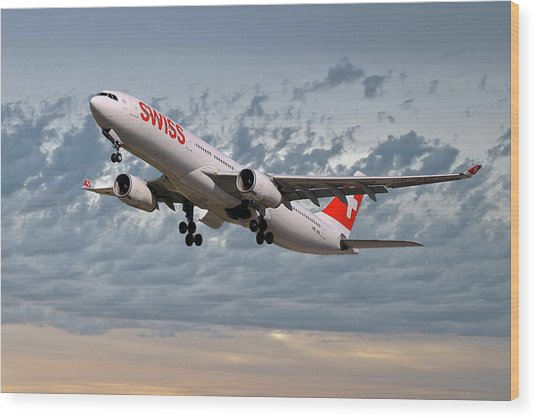Swiss Airbus A330-343 Wood Print