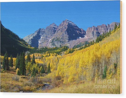 Wood Print featuring the photograph The Maroon Bells by Kate Avery