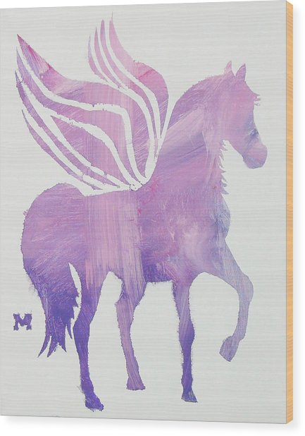 The Pink Pegasus Wood Print