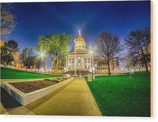 Topeka Kansas Downtown At Night Wood Print