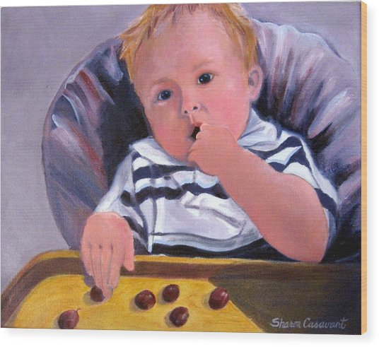 Trevor With Grapes Wood Print