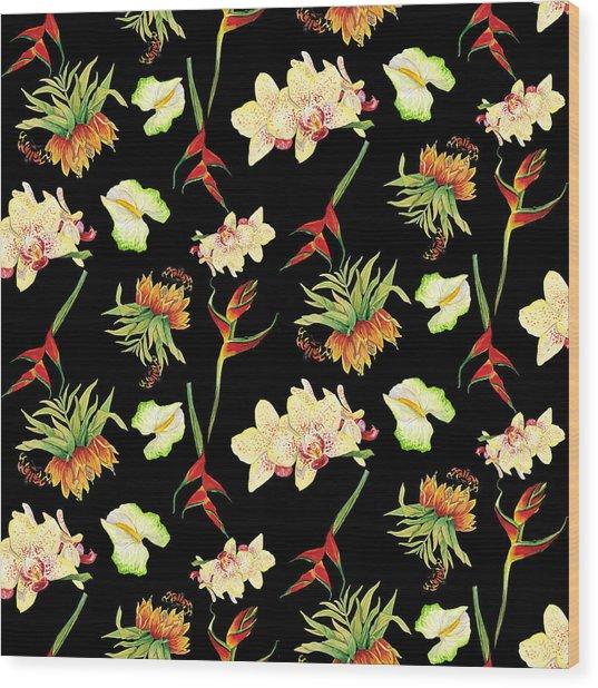 Tropical Island Floral Half Drop Pattern Wood Print