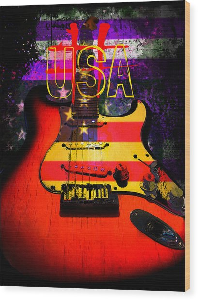 Wood Print featuring the photograph Red Usa Flag Guitar  by Guitar Wacky