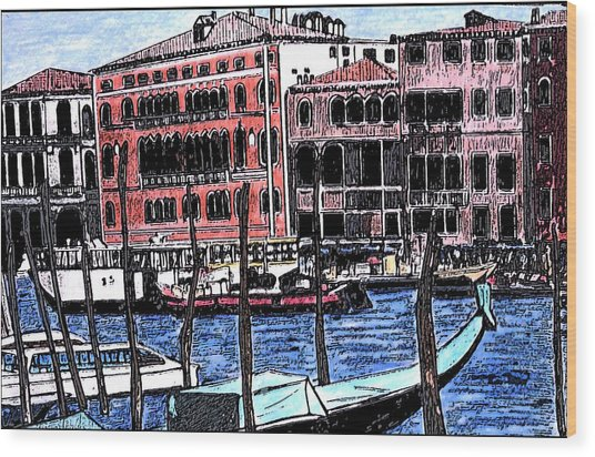 Venice Italy Wood Print by Monica Engeler