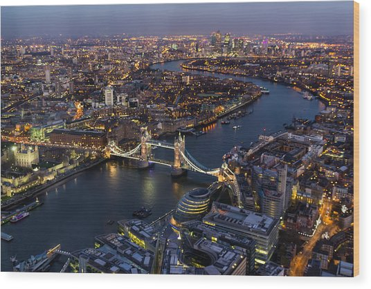View From The Shard London Wood Print