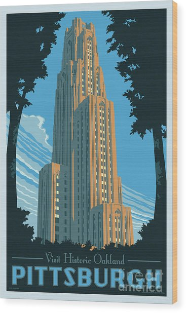 Pittsburgh Poster - Vintage Style Wood Print