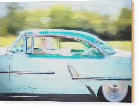 Vintage Val In The Turquoise Vintage Car Wood Print