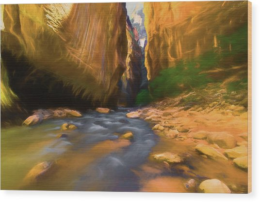 Virgin River - Zion National Park Watercolor Wood Print