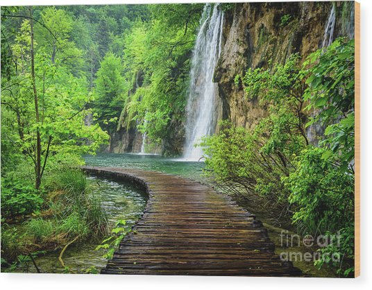 Walking Through Waterfalls - Plitvice Lakes National Park, Croatia Wood Print