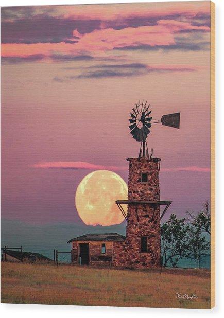 Windmill At Moonset Wood Print