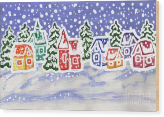 Winter Landscape With Multicolor Houses, Painting Wood Print