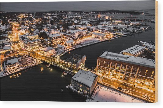 Winter Twilight In Mystic Connecticut Wood Print