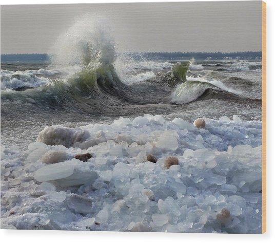 Winter Waves At Whitefish Dunes Wood Print
