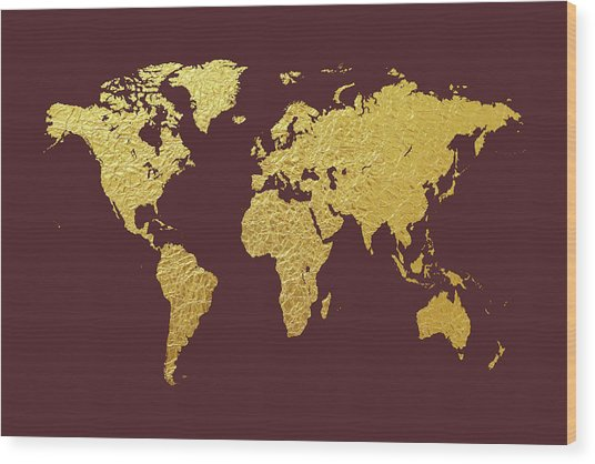 World Map Gold Foil Wood Print