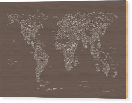 World Map Of Cities Wood Print