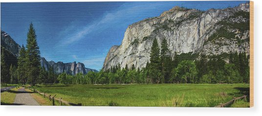 Yosemite Valley Meadow Panorama Wood Print