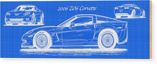 2006 Z06 Corvette Blueprint Series Wood Print