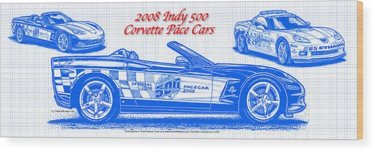 2008 Indy 500 Corvette Pace Car Blueprint Series Wood Print