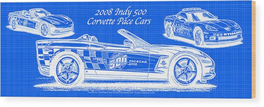 2008 Indy 500 Corvette Pace Cars Blueprint Series - Reversed Wood Print