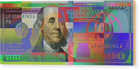 2009 Series Pop Art Colorized U. S. One Hundred Dollar Bill No. 1 Wood Print