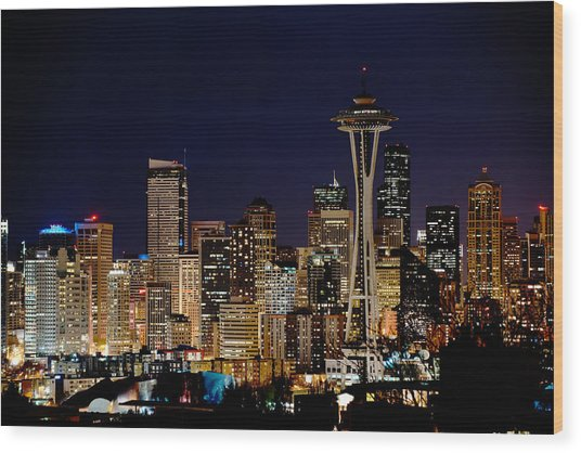 2010 Seattle Earth Hour A350 Wood Print by Yoshiki Nakamura
