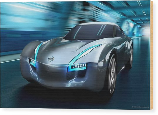 2011 Nissan Electric Sports Concept Car Wood Print