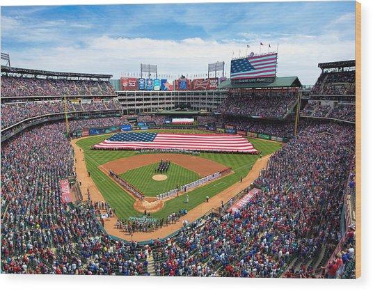 2015 Texas Rangers Home Opener Wood Print