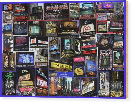 2016 Broadway Spring Collage Wood Print