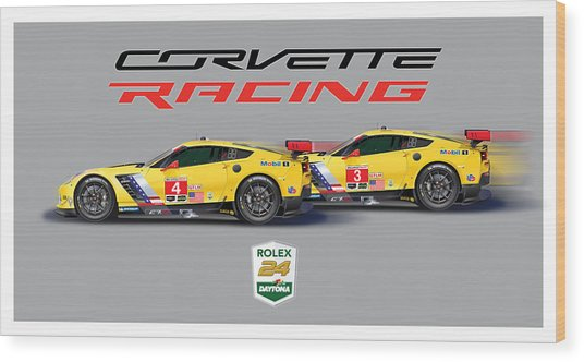 2016 Daytona 24 Hour Corvette Poster Wood Print