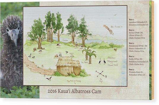 2016 Kauai Albatross Cam Map Wood Print by Elizabeth Smith