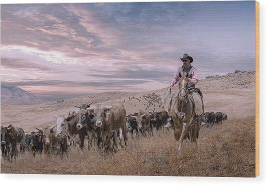 2016 Reno Cattle Drive Wood Print