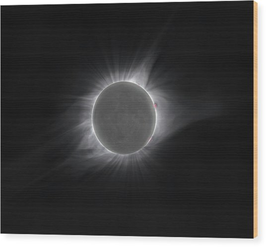 2017 Eclipse And Earthshine Wood Print
