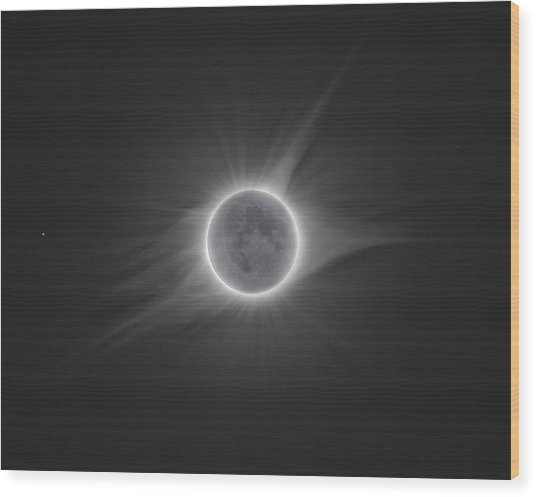 2017 Eclipse With Earth Shine Wood Print by Dennis Sprinkle