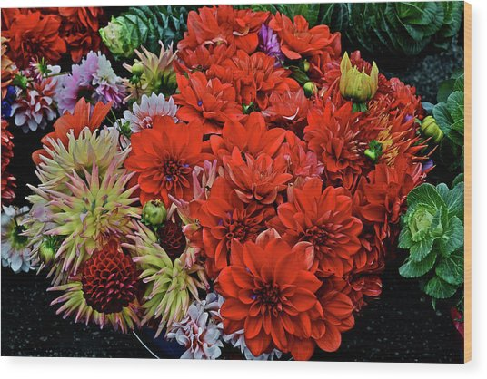 2017 Mid October Monona Farmers' Market Buckets Of Blossoms 1 Wood Print