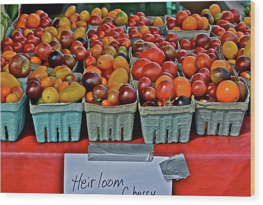 2017 Monona Farmers' Market August Heirloom Cherry Tomatoes Wood Print
