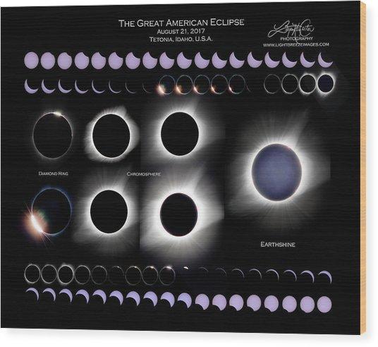2017 Solar Eclipse Collage Wood Print