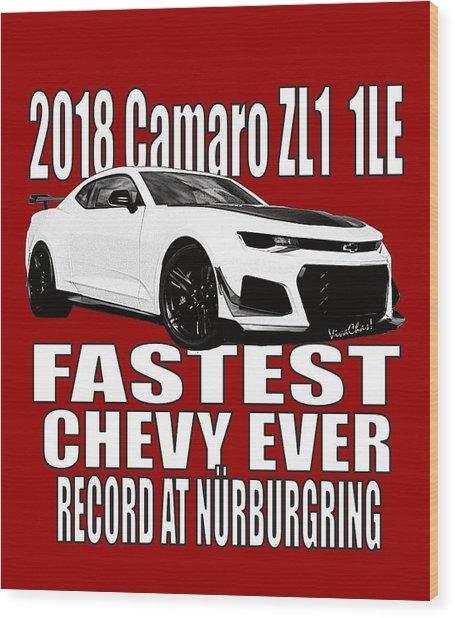 2018 Camaro Zl1 1le Wood Print