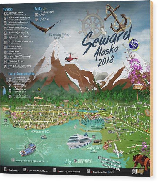 2018 Seward, Alaska Qr Code Directory Right Wood Print