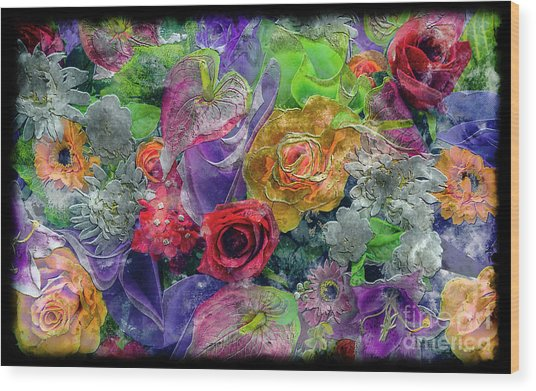 21a Abstract Floral Painting Digital Expressionism Wood Print