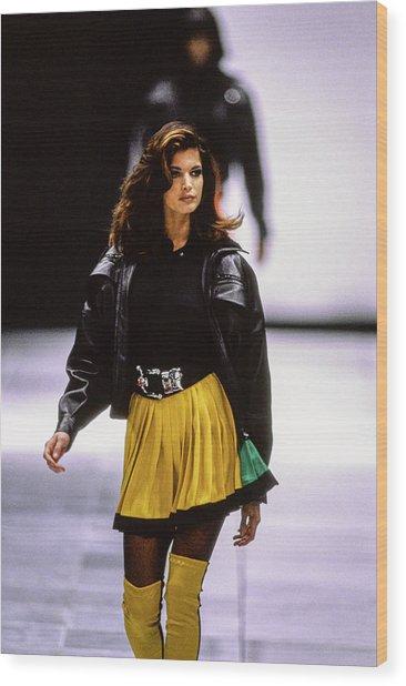 Versace Fall 1991 Rtw Show Wood Print by Guy Marineau