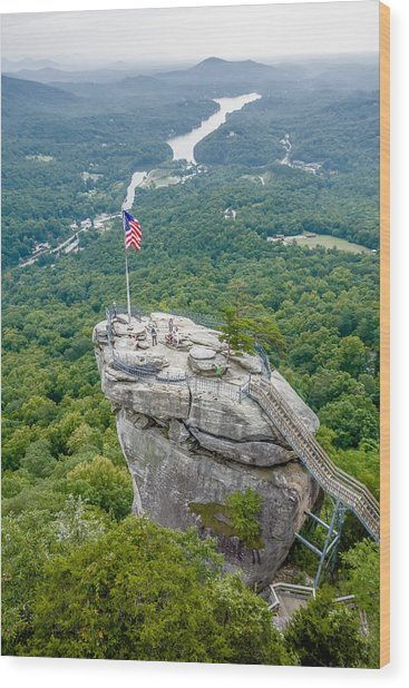 Lake Lure And Chimney Rock Landscapes Wood Print