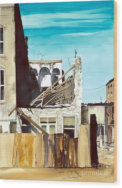 Wood Print featuring the painting 25th. Street by Douglas Teller
