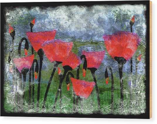26a Abstract Floral Red Poppy Painting Wood Print