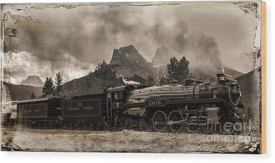 Wood Print featuring the photograph 2816 Empress At Three Sisters - Canmore by Brad Allen Fine Art