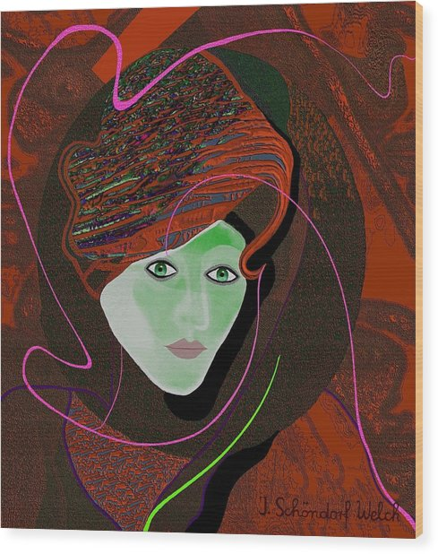 289 - Anna  With  Dark Red Cap Wood Print by Irmgard Schoendorf Welch
