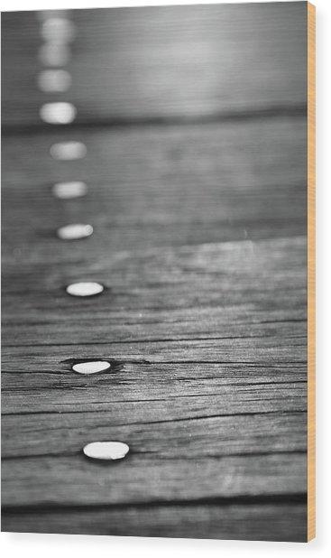 Detail Of Nails On Boardwalk Wood Print