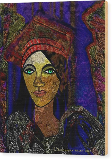 299 - Woman With Red Hat   Wood Print by Irmgard Schoendorf Welch