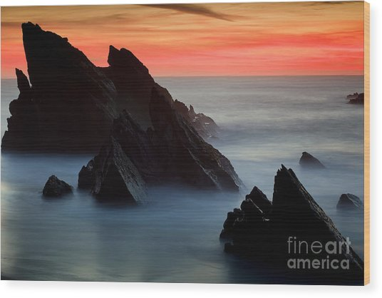 Adraga Beach In Sintra Natural Park Wood Print by Andre Goncalves