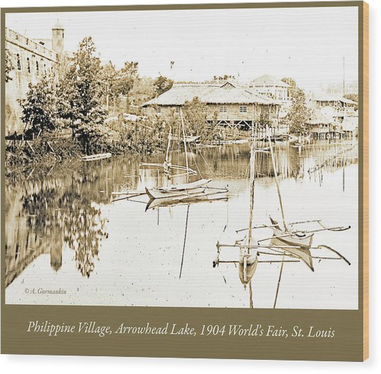 Arrow Head Lake, Philippine Village, 1904 Worlds Fair, Vintage P Wood Print