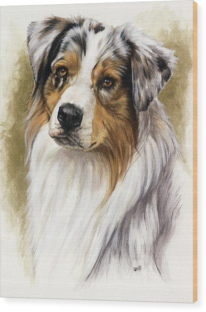 Wood Print featuring the mixed media Australian Shepherd by Barbara Keith